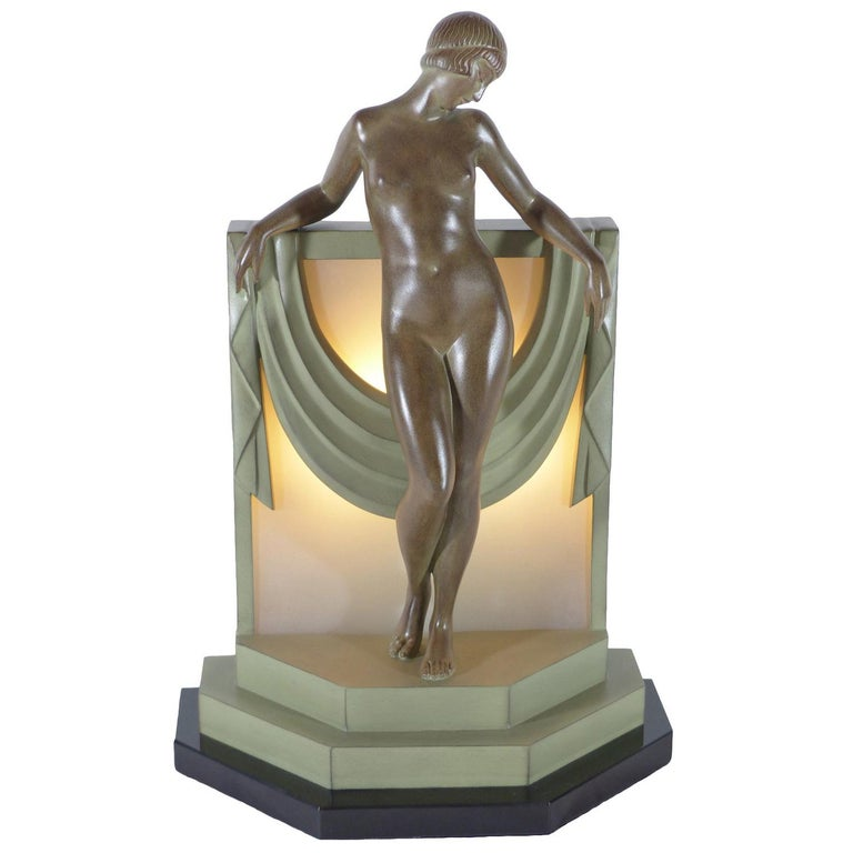 French Table Lamp Serenite Sculpture by Fayral Original Max Le Verrier For Sale