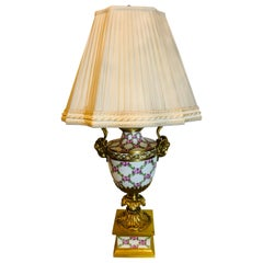 French Table Lamp Trellis Floral Porcelain Urn with Rams Head Gilt Bronze Mounts