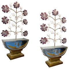 French Table Lamps with Crystals Amethyst Flowers