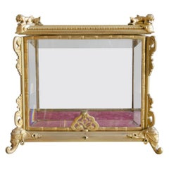 French Tabletop Display in Gilt Bronze and Beveled Glass