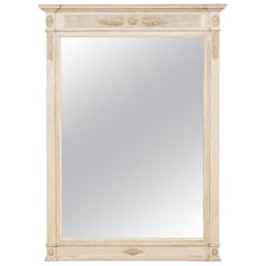 French Tall Carved Wood Mirror in Soft Grey Hues, Mid-20th Century