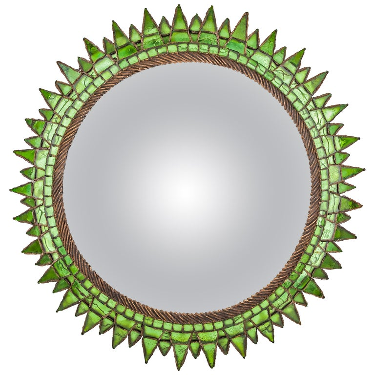 French Talosel and Incrusted Mirrors with Central Convex Mirror Line Vautrin For Sale