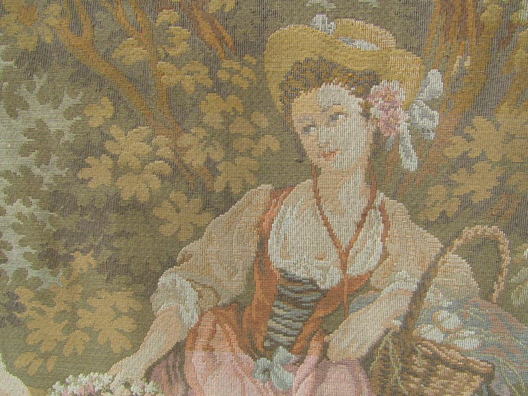 French Tapestry Aubusson Style, 1880 For Sale 8