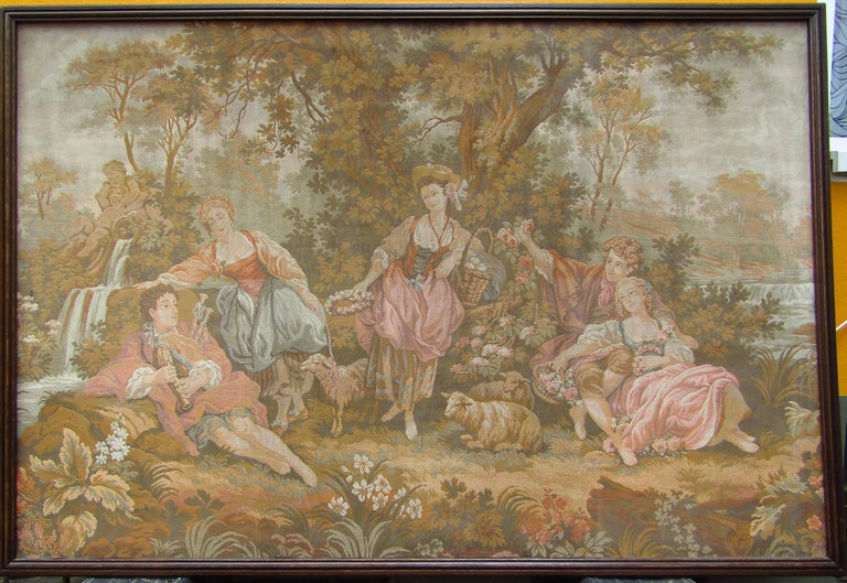 Original French tapestry Aubusson style, France, 1880. Wall decoration (machine) woven, no print. Good vintage condition.  Free shipping anywhere in the world without frame.