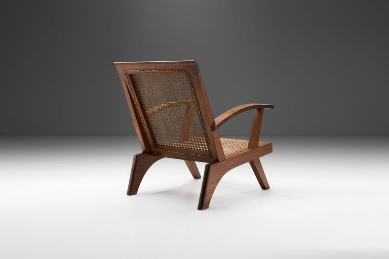Mid-20th Century French Teak Armchair, France, 1950s For Sale