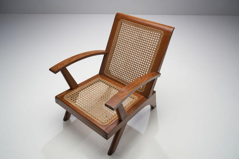 Cane French Teak Armchair, France, 1950s For Sale