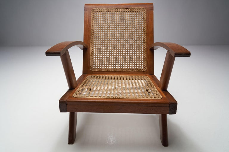 French Teak Armchair, France, 1950s For Sale 2