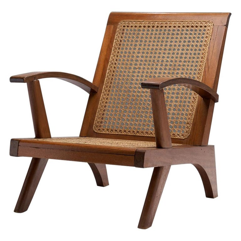 French Teak Armchair, France, 1950s For Sale