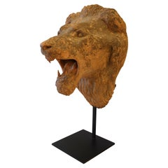 French Terracotta Lion's Head on Custom Iron Stand