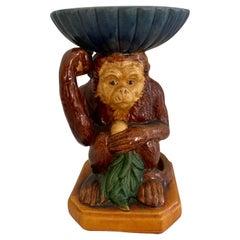 French Terra Cotta Majolica Monkey with Bowl