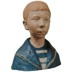 French Terra Cotta Statue/Buste of a Sailor Boy