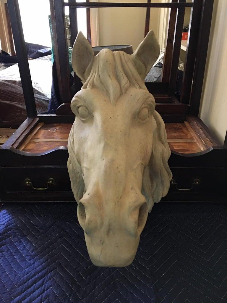 French terracota horse head, 20th century.