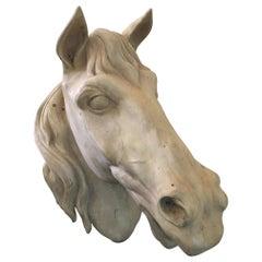 French Terracota Horse Head, 20th Century