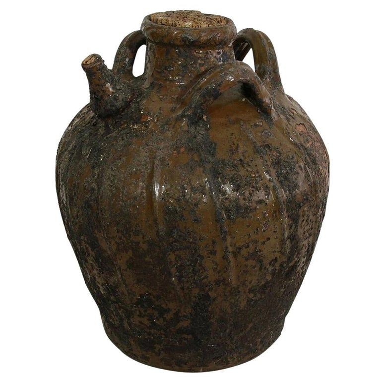 French Terracotta 18th Century Walnut Oil Jug For Sale