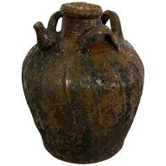 French Terracotta 18th Century Walnut Oil Jug