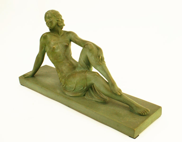 French Terracotta Art Deco Sculpture Signed U.Cipriani In Good Condition For Sale In Beirut, LB