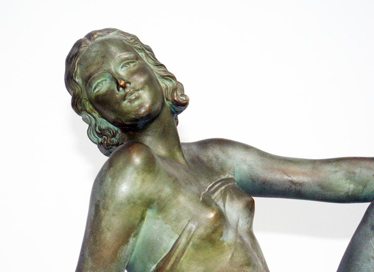 20th Century French Terracotta Art Deco Sculpture Signed U.Cipriani For Sale
