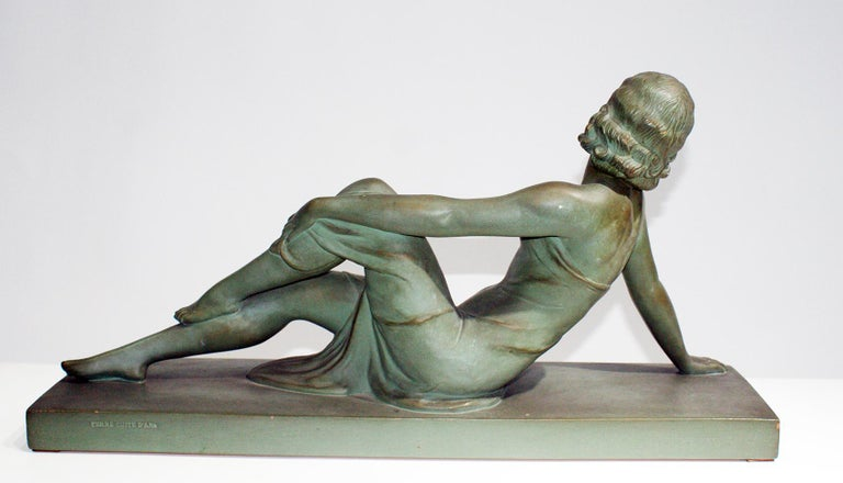 French Terracotta Art Deco Sculpture Signed U.Cipriani For Sale 1