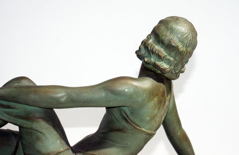 French Terracotta Art Deco Sculpture Signed U.Cipriani For Sale 2