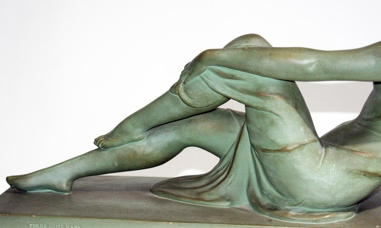 French Terracotta Art Deco Sculpture Signed U.Cipriani For Sale 3