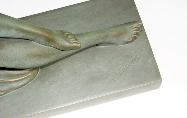 French Terracotta Art Deco Sculpture Signed U.Cipriani For Sale 4