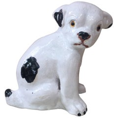 French Terracotta Black and White Dog Bavent Normandy
