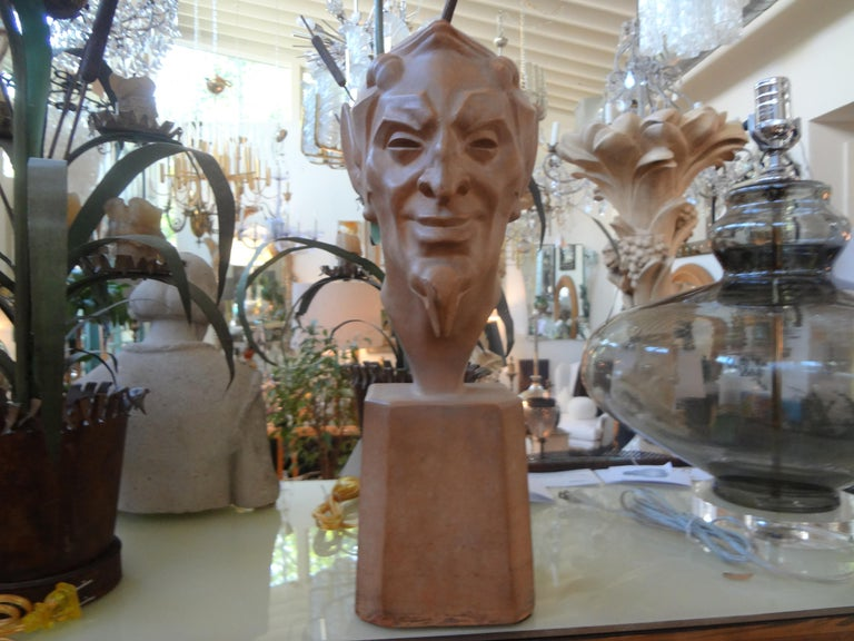 Art Deco French Terracotta Bust of a Satyr by Max Le Verrier For Sale