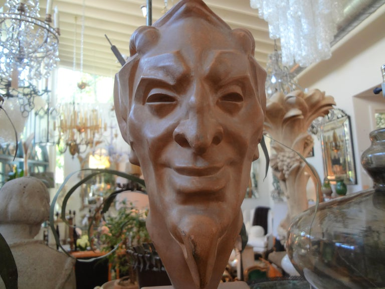 French Terracotta Bust of a Satyr by Max Le Verrier In Good Condition For Sale In Houston, TX