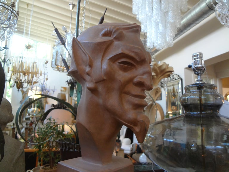 Early 20th Century French Terracotta Bust of a Satyr by Max Le Verrier For Sale
