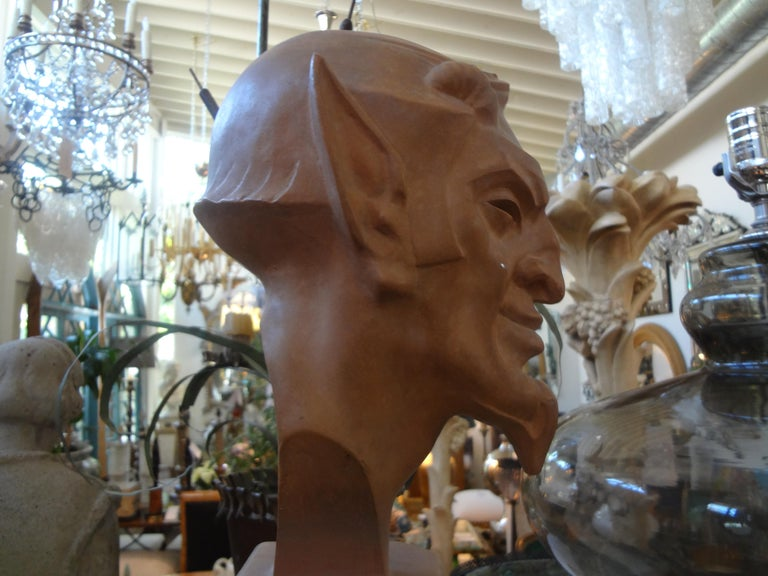 French Terracotta Bust of a Satyr by Max Le Verrier For Sale 1