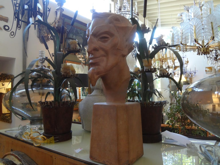 French Terracotta Bust of a Satyr by Max Le Verrier For Sale 4
