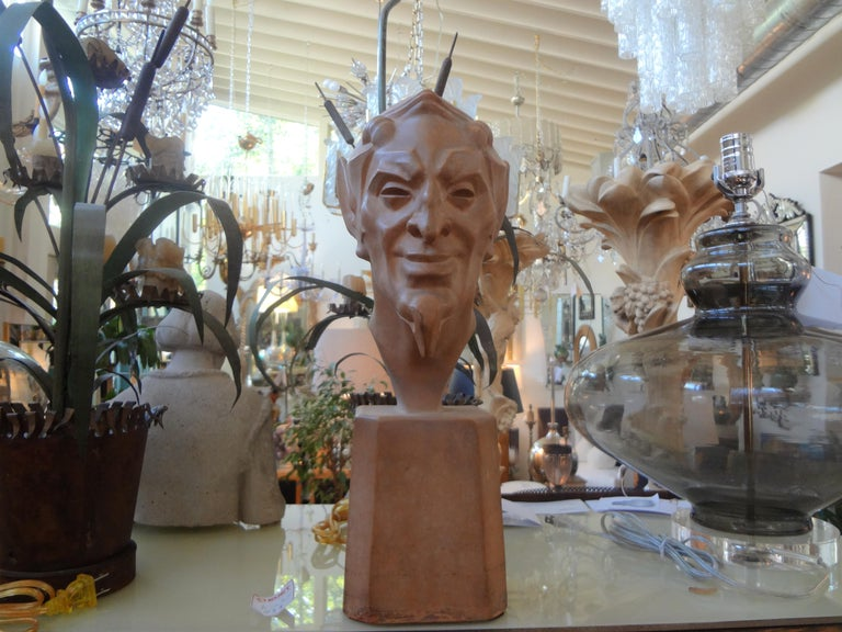 French Terracotta Bust of a Satyr by Max Le Verrier For Sale 5