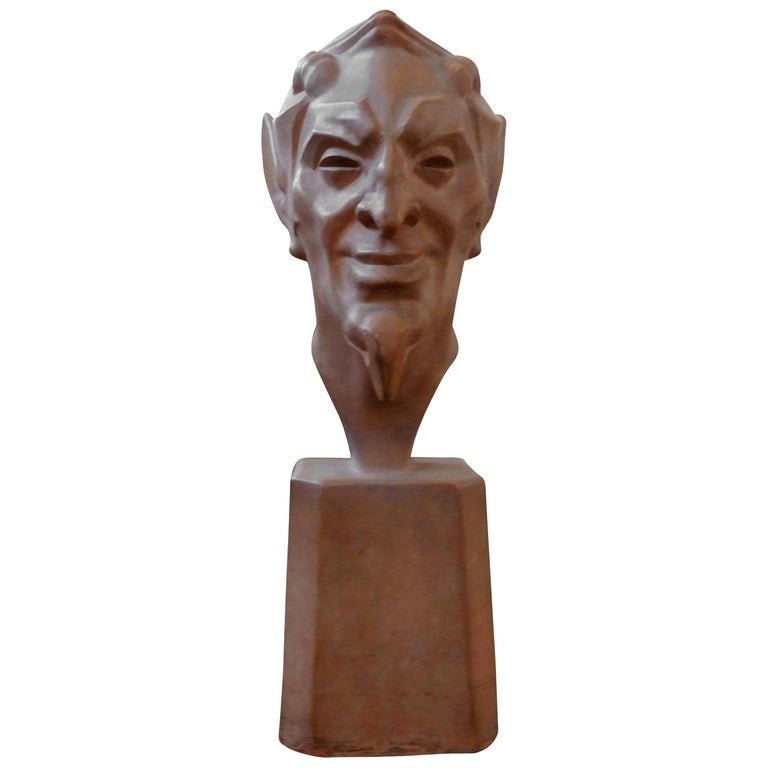 French Terracotta Bust of a Satyr by Max Le Verrier For Sale