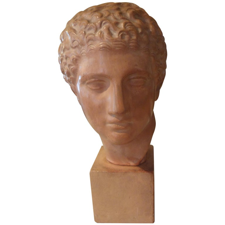 Well executed French terracotta bust sculpture of a classical Roman male, circa 1920.
