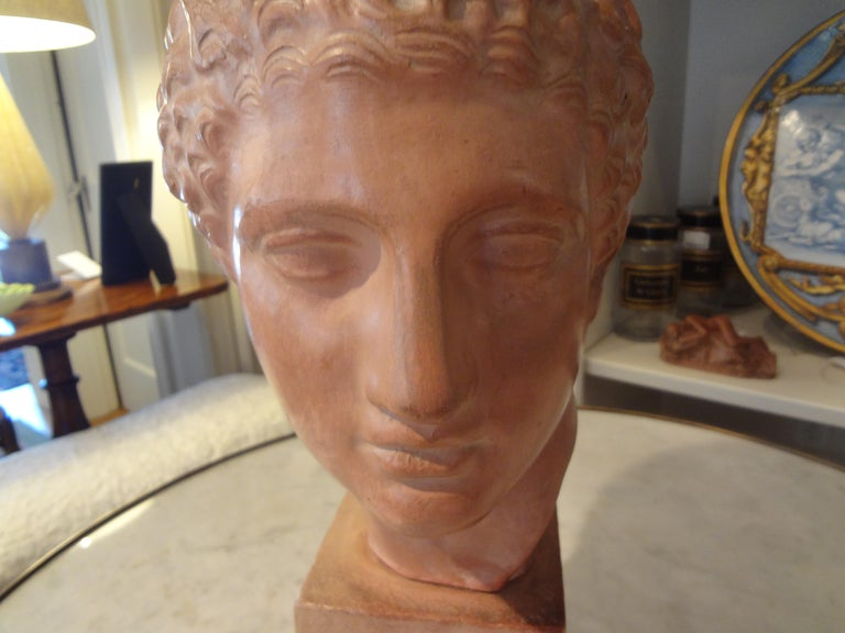 Early 20th Century French Terracotta Bust Sculpture of a Classical Roman Male For Sale