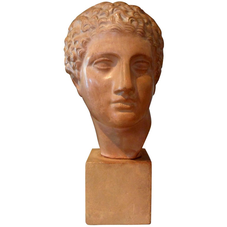 French Terracotta Bust Sculpture of a Classical Roman Male For Sale