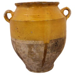 French Terracotta Confit Pot Yellow Glaze