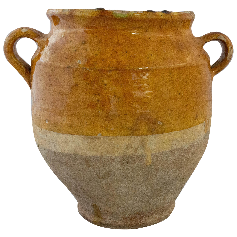 French Terracotta Confit Pot Yellow Glaze Medium Model