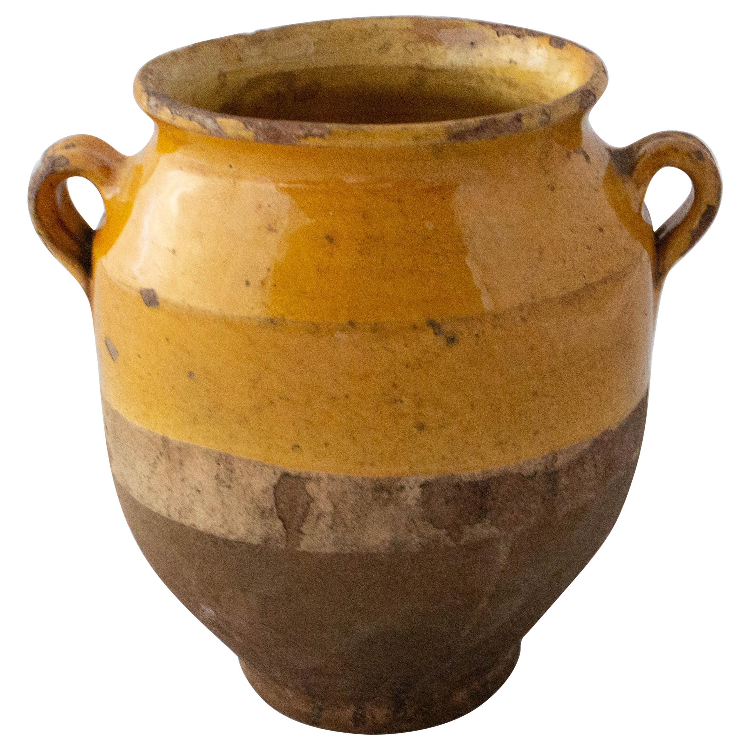 French Terracotta Confit Pot Yellow Glaze Small Model