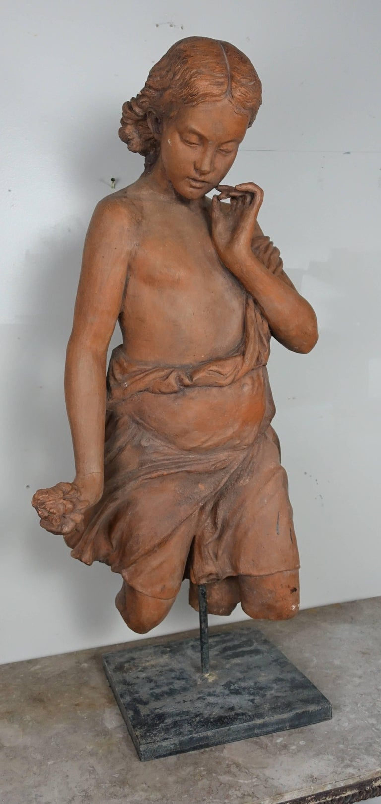 Louis XV French Terracotta Figure of a Woman For Sale