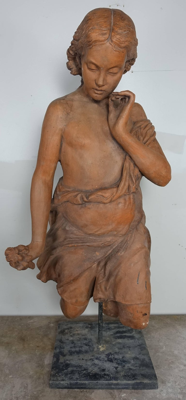 French Terracotta Figure of a Woman For Sale 2
