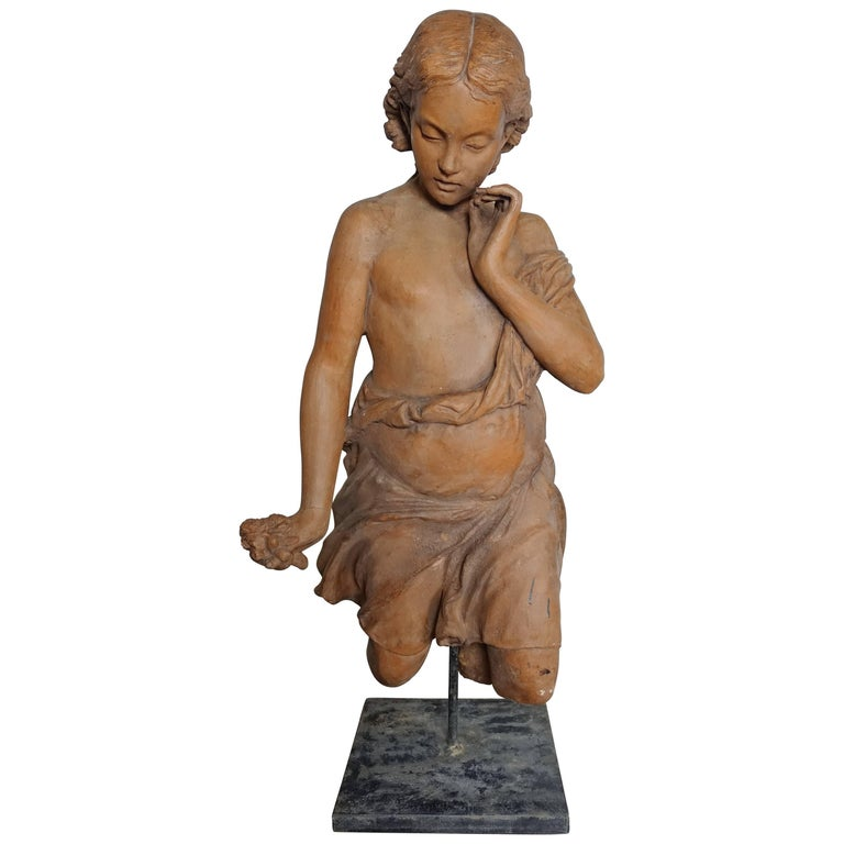 French Terracotta Figure of a Woman For Sale