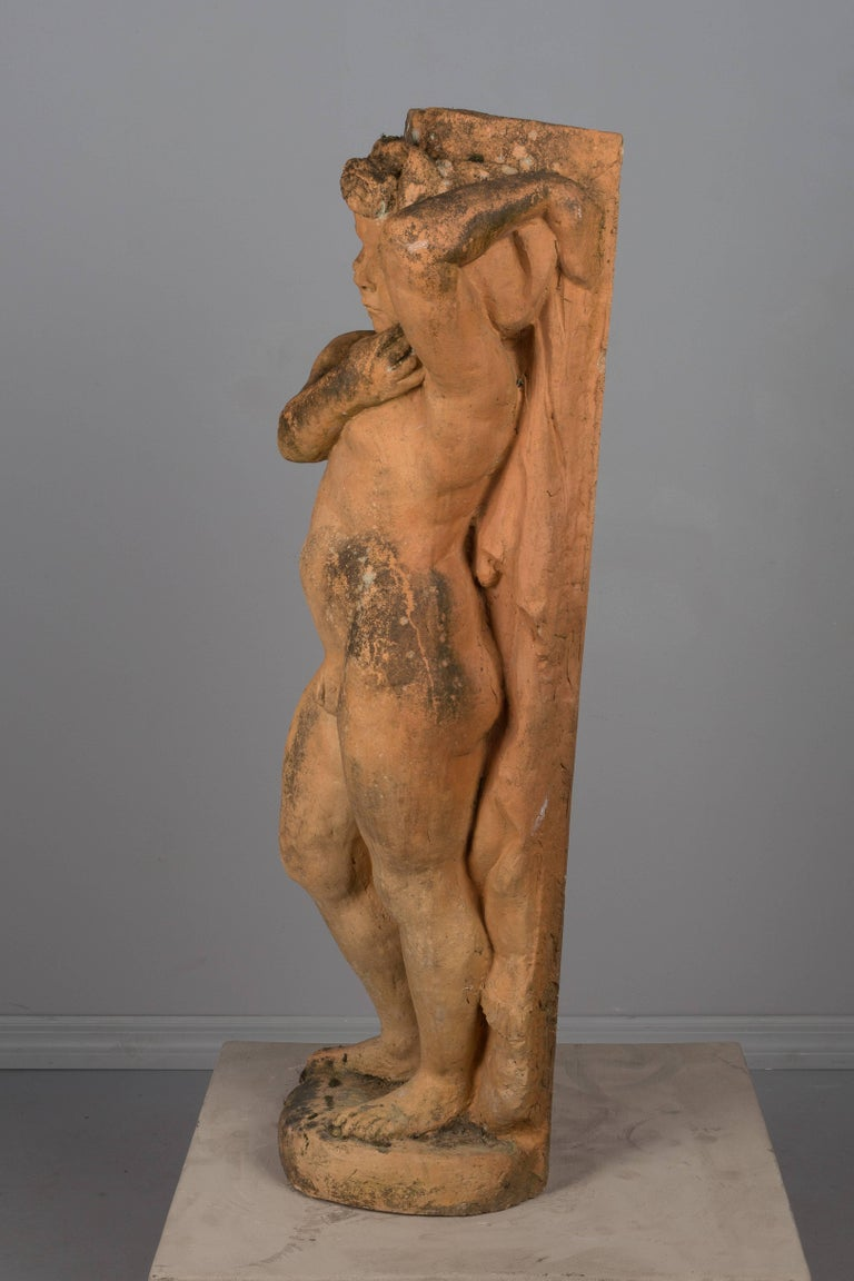 Country French Terracotta Garden Statue For Sale
