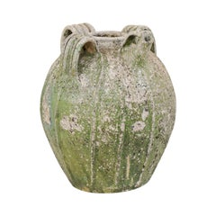 French Terracotta Jar in Green Hues from the 19th Century