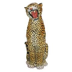 French Terracotta Leopard Decorative Sculpture, 1940s
