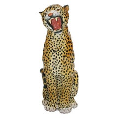 French Terracotta Leopard Decorative Sculpture. 1940s