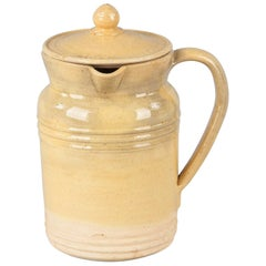 French Terracotta Pitcher with Top From Provence Region, 1960s