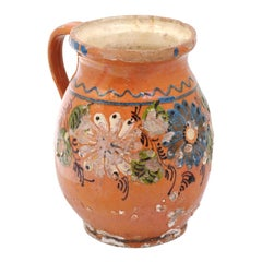 French Terracotta Pottery Pitcher with Floral Décor, Brown and Cream Glaze