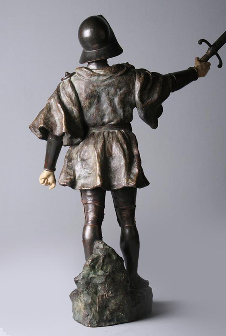 French Terracotta Statue of a Knight Signed J. Dupré For Sale 4