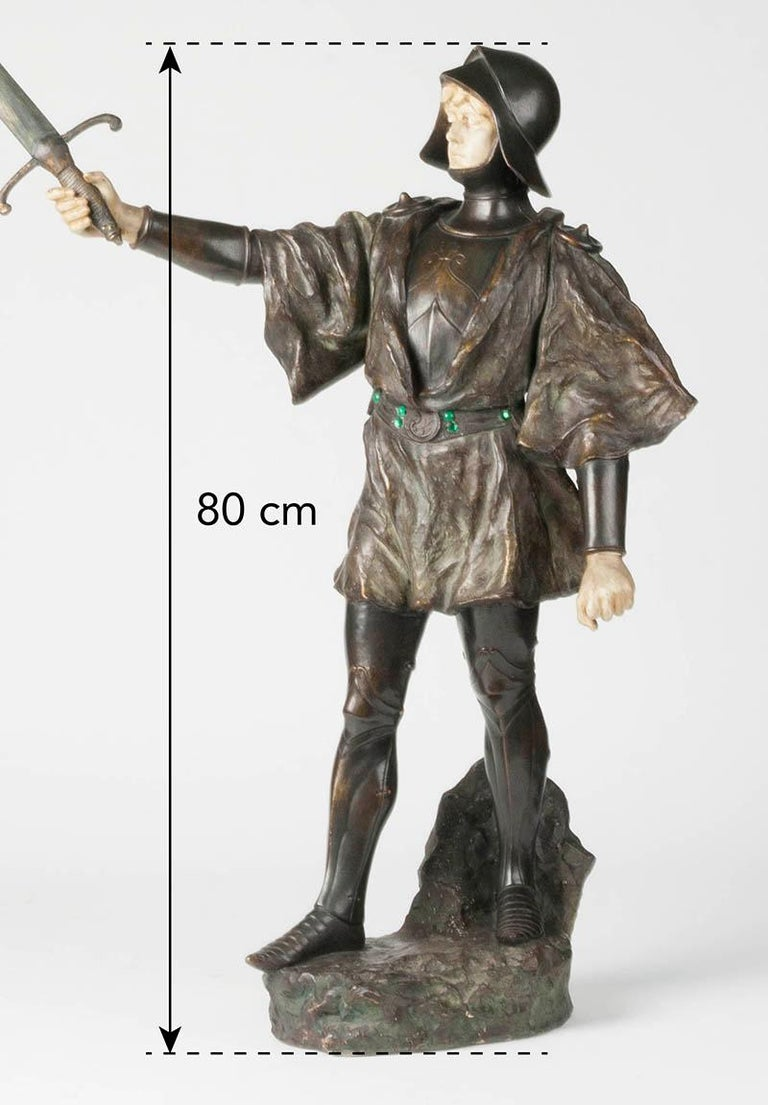 French Terracotta Statue of a Knight Signed J. Dupré For Sale 12